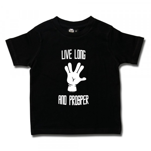 Live Long and Prosper Kids T-Shirt mit Aufdruck in weiß auf Metal-Kids Markenware