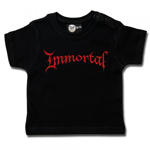 Immortal (Logo) Baby T-Shirt mit Aufdruck in rot auf Metal-Kids Markenware