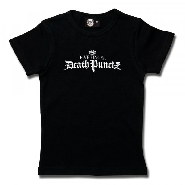 Five Finger Death Punch (Logo) Girly Shirt mit Aufdruck in weiß auf Metal-Kids Markenware