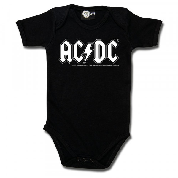 AC/DC (Logo, single-col.) Baby Body mit Aufdruck in weiß auf Metal-Kids Markenware