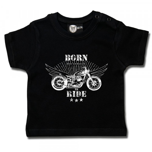 born to ride Baby T-Shirt mit Aufdruck in weiß auf Metal-Kids Markenware