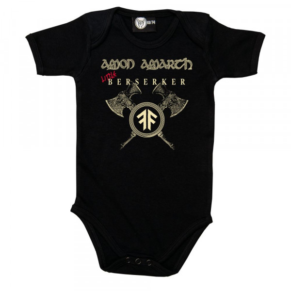 Amon Amarth (Little Berserker) Baby Body mit Aufdruck in Elfenbein/rot auf Metal-Kids Markenware
