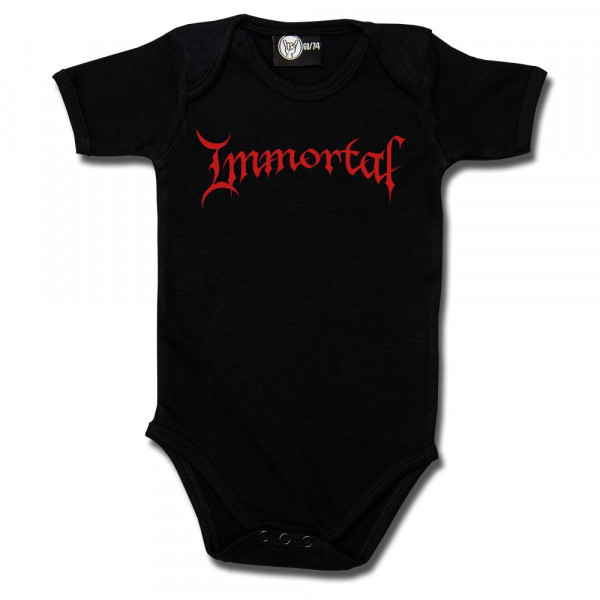 Immortal (Logo) Baby Body mit Aufdruck in rot auf Metal-Kids Markenware