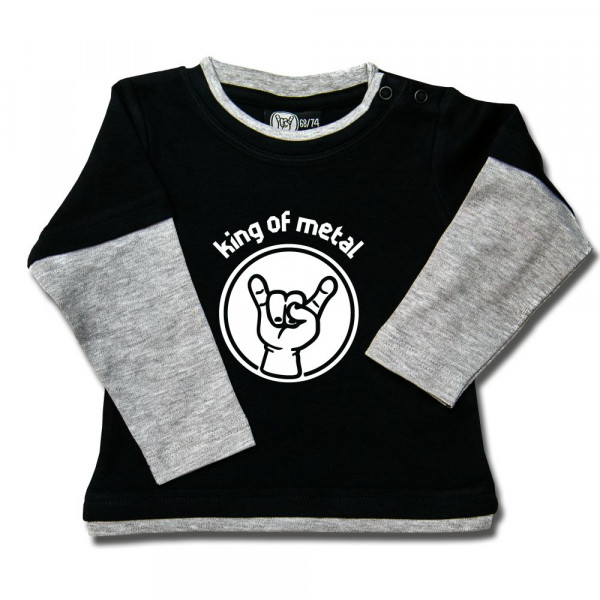 king of metal Baby Skater Shirt mit Aufdruck in weiß auf Metal-Kids Markenware