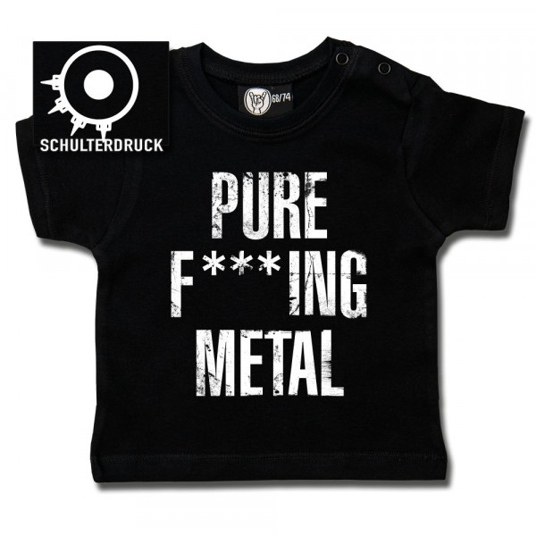 Arch Enemy (Pure F***ing Metal) Baby T-Shirt mit Aufdruck in weiß auf Metal-Kids Markenware