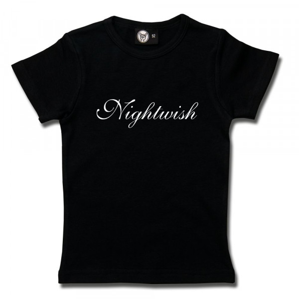 Nightwish (Logo) Girly Shirt mit Aufdruck in weiß auf Metal-Kids Markenware