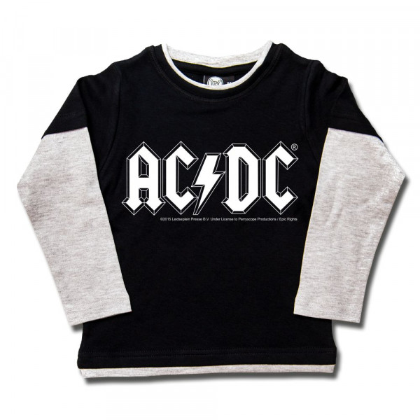 AC/DC (Logo, single-col.) Kids Skater Shirt mit Aufdruck in weiß auf Metal-Kids Markenware