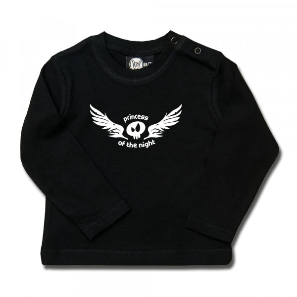 princess of the night Baby Longsleeve mit Aufdruck in weiß auf Metal-Kids Markenware