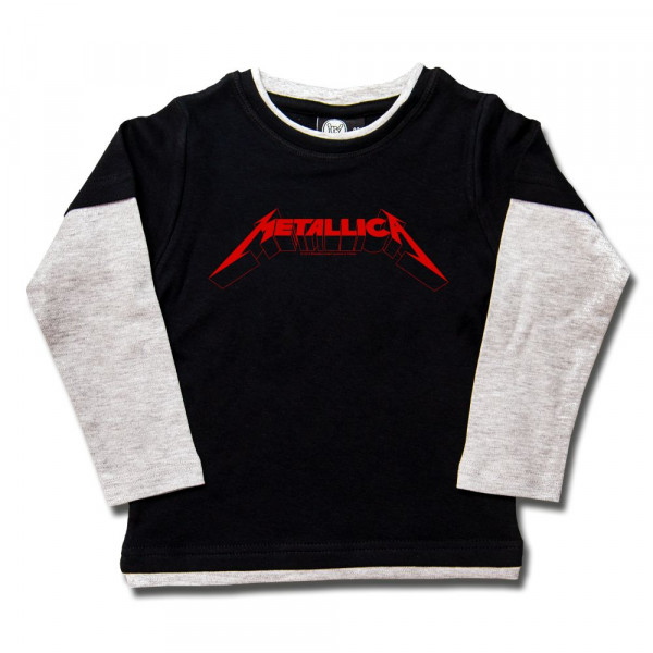 Metallica (Logo) Kids Skater Shirt mit Aufdruck in rot auf Metal-Kids Markenware