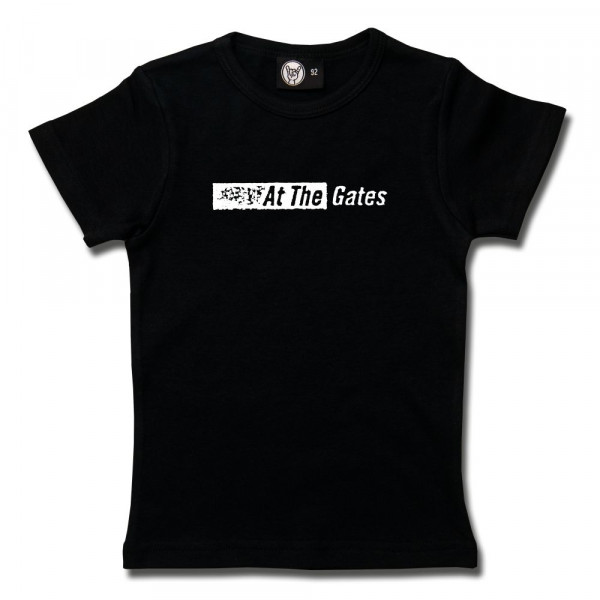 At the Gates (Logo) Girly Shirt mit Aufdruck in weiß auf Metal-Kids Markenware