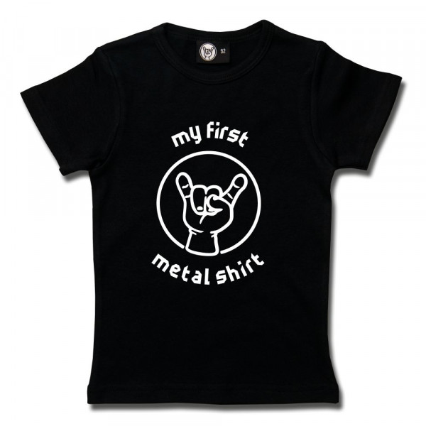 my first metal shirt (invers) Girly Shirt mit Aufdruck in weiß auf Metal-Kids Markenware