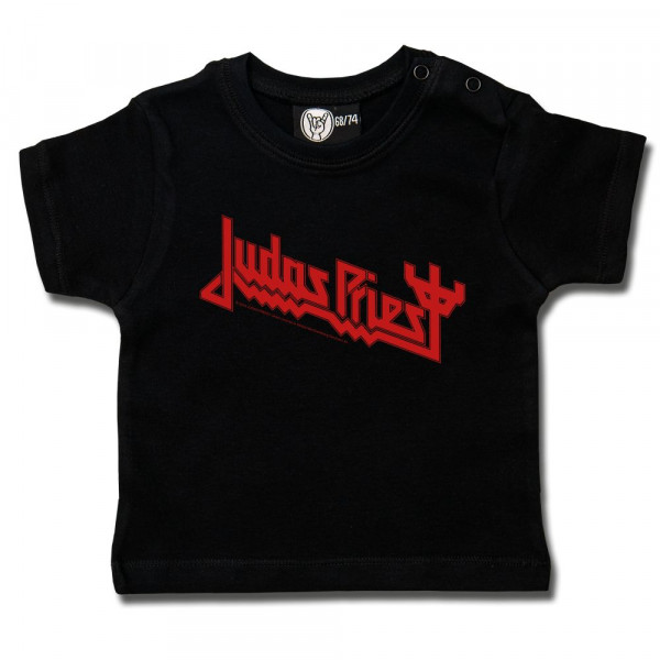 Judas Priest (Logo) Baby T-Shirt mit Aufdruck in rot auf Metal-Kids Markenware