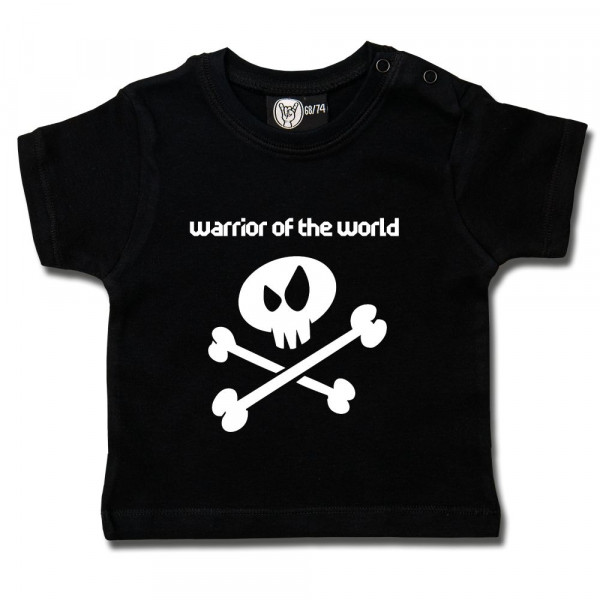 warrior of the world Baby T-Shirt mit Aufdruck in weiß auf Metal-Kids Markenware