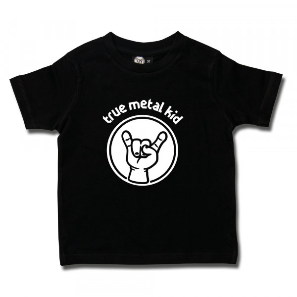 true metal kid Kids T-Shirt mit Aufdruck in weiß auf Metal-Kids Markenware