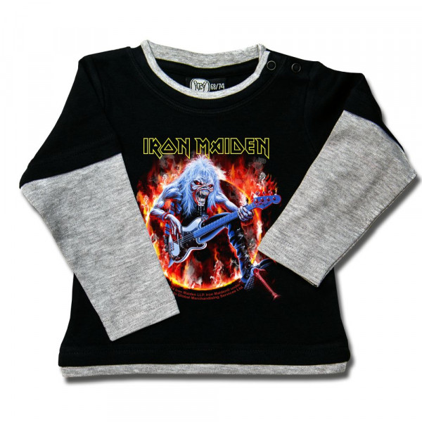 Iron Maiden (Fear Live Flame) Baby Skater Shirt mit Aufdruck in multicolor auf Metal-Kids Markenware