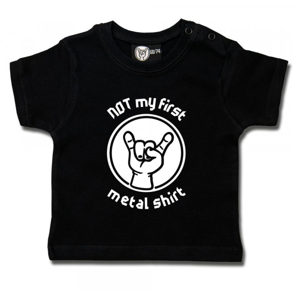 NOT my first metal shirt Baby T-Shirt mit Aufdruck in weiß auf Metal-Kids Markenware