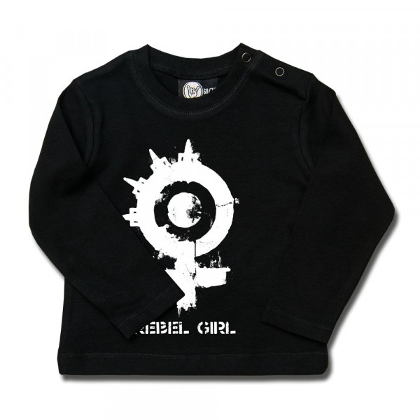 Arch Enemy (Rebel Girl) Baby Longsleeve mit Aufdruck in weiß auf Metal-Kids Markenware