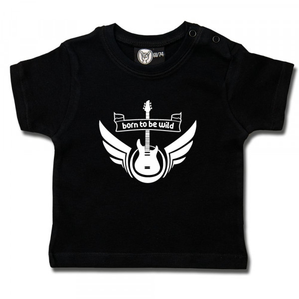 born to be wild Baby T-Shirt mit Aufdruck in weiß auf Metal-Kids Markenware
