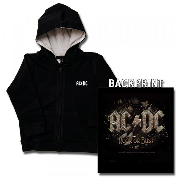 AC/DC (Rock or Bust) Kids Kapuzenjacke mit Aufdruck in multicolor auf Metal-Kids Markenware