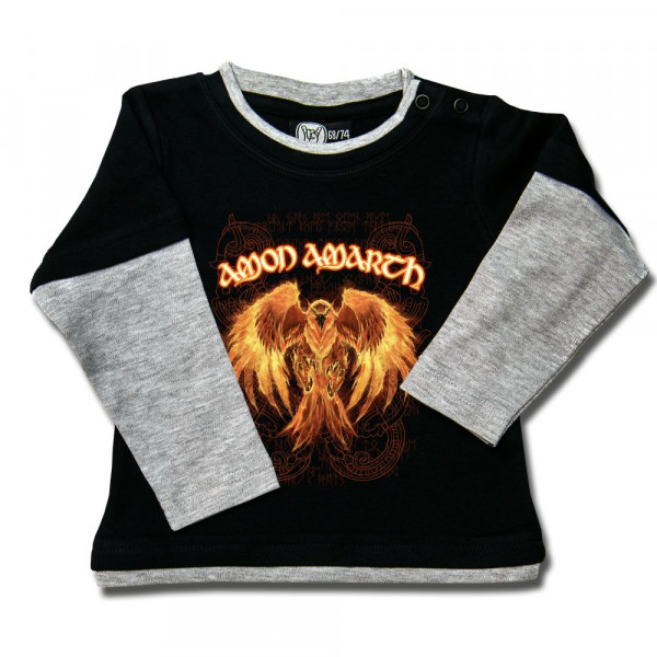 Amon Amarth (Burning Eagle) Baby Skater Shirt mit Aufdruck in multicolor auf Metal-Kids Markenware