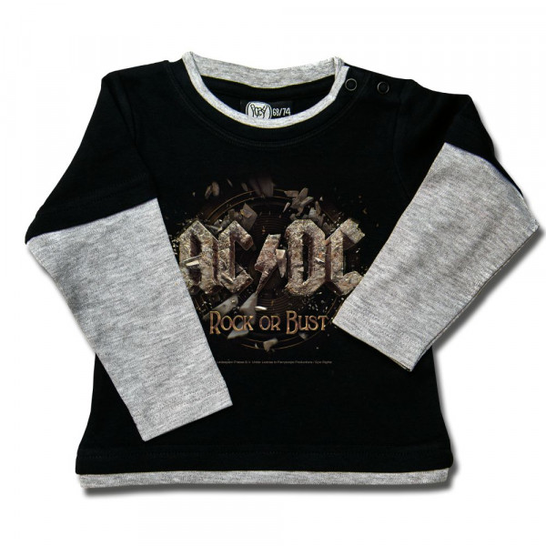 AC/DC (Rock or Bust) Baby Skater Shirt mit Aufdruck in multicolor auf Metal-Kids Markenware
