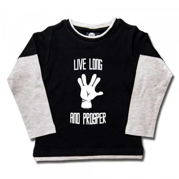 Live Long and Prosper Kids Skater Shirt mit Aufdruck in weiß auf Metal-Kids Markenware