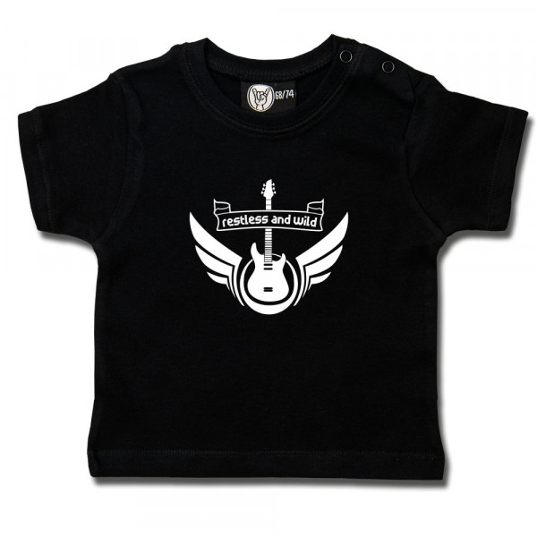 restless and wild Baby T-Shirt mit Aufdruck in weiß auf Metal-Kids Markenware