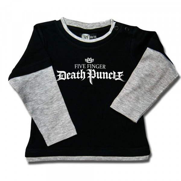 Five Finger Death Punch (Logo) Baby Skater Shirt mit Aufdruck in weiß auf Metal-Kids Markenware