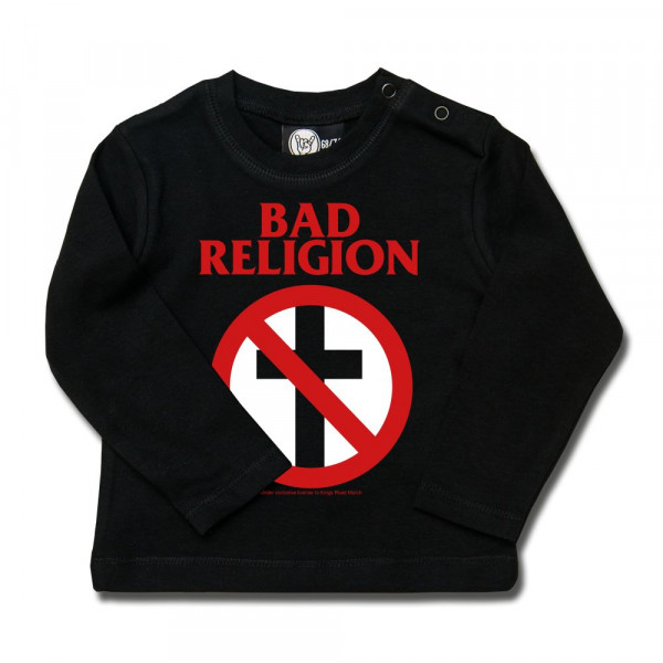 Bad Religion (Cross Buster) Baby Longsleeve mit Aufdruck in rot/weiß auf Metal-Kids Markenware