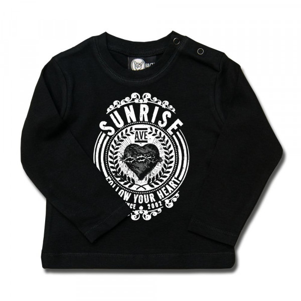 Sunrise Avenue (Follow Your Heart) Baby Longsleeve mit Aufdruck in weiß auf Metal-Kids Markenware