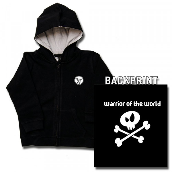 warrior of the world Baby Kapuzenjacke mit Aufdruck in weiß auf Metal-Kids Markenware