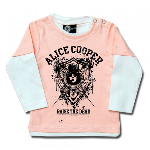 Alice Cooper (Raise the Dead) Baby Skater Shirt mit Aufdruck in schwarz auf Metal-Kids Markenware
