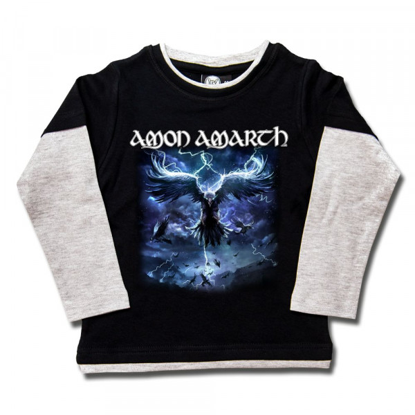 Amon Amarth (Raven's Flight) Kids Skater Shirt mit Aufdruck in multicolor auf Metal-Kids Markenware