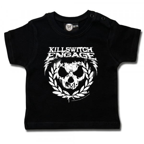 Killswitch Engage (Skull Leaves) Baby T-Shirt mit Aufdruck in weiß auf Metal-Kids Markenware
