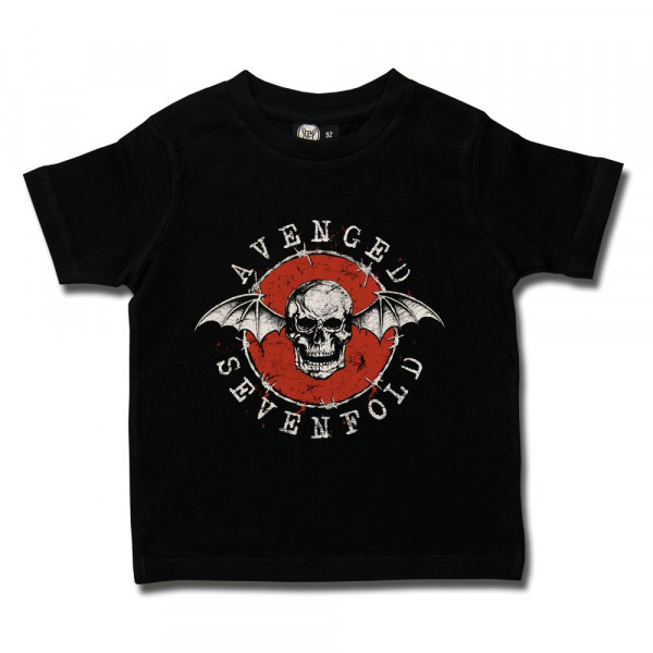 Avenged Sevenfold (New Deathbat) Kids T-Shirt mit Aufdruck in multicolor auf Metal-Kids Markenware