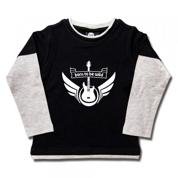 born to be wild Kids Skater Shirt mit Aufdruck in weiß auf Metal-Kids Markenware