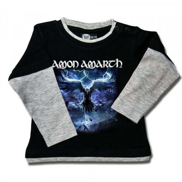 Amon Amarth (Raven's Flight) Baby Skater Shirt mit Aufdruck in multicolor auf Metal-Kids Markenware