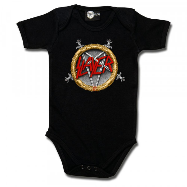 Slayer (Pentagram) Baby Body mit Aufdruck in multicolor auf Metal-Kids Markenware
