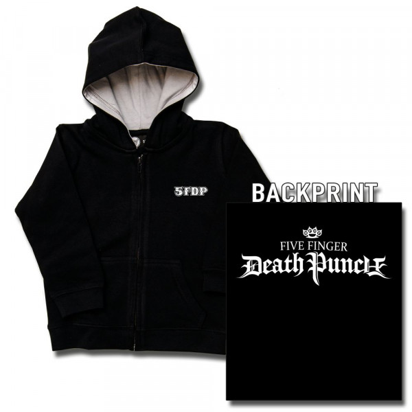 Five Finger Death Punch (Logo) Baby Kapuzenjacke mit Aufdruck in weiß auf Metal-Kids Markenware