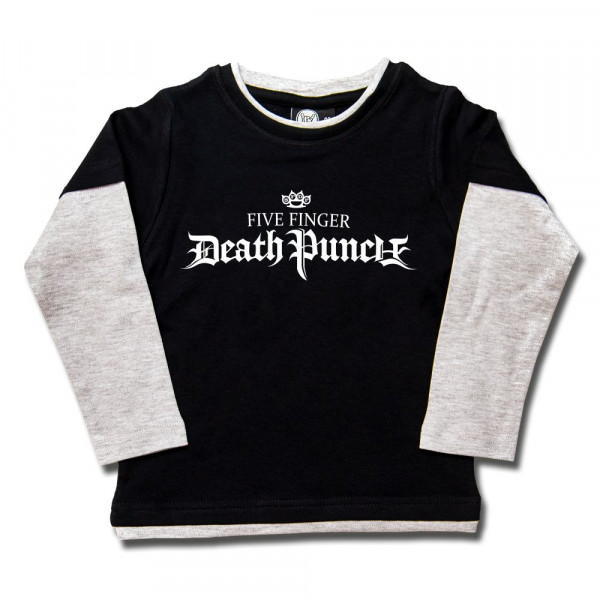 Five Finger Death Punch (Logo) Kids Skater Shirt mit Aufdruck in weiß auf Metal-Kids Markenware
