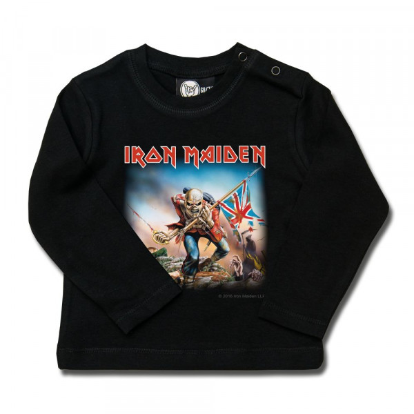 Iron Maiden (Trooper) Baby Longsleeve mit Aufdruck in multicolor auf Metal-Kids Markenware