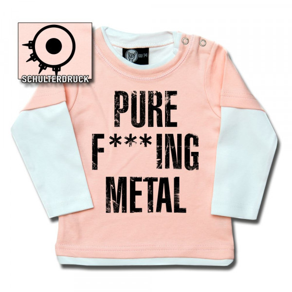 Arch Enemy (Pure F***ing Metal) Baby Skater Shirt mit Aufdruck in schwarz auf Metal-Kids Markenware