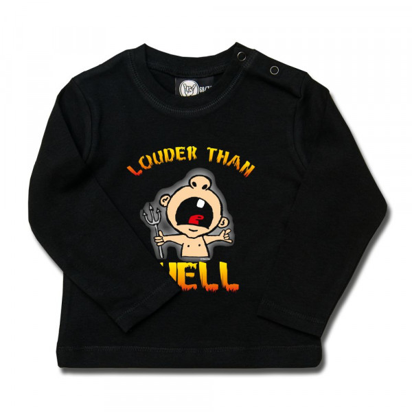 louder than hell Baby Longsleeve mit Aufdruck in multicolor auf Metal-Kids Markenware