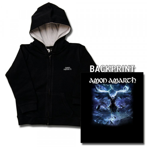 Amon Amarth (Raven's Flight) Baby Kapuzenjacke mit Aufdruck in multicolor auf Metal-Kids Markenware