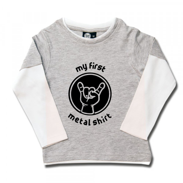 my first metal shirt Kids Skater Shirt mit Aufdruck in schwarz auf Metal-Kids Markenware