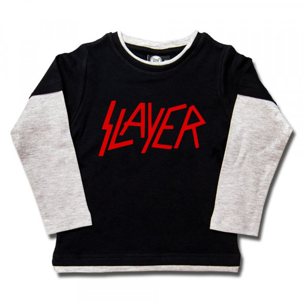 Slayer (Logo) Kids Skater Shirt mit Aufdruck in rot auf Metal-Kids Markenware