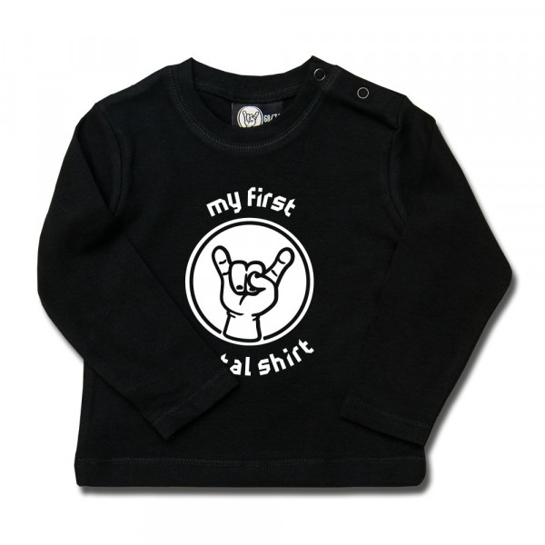 my first metal shirt Baby Longsleeve mit Aufdruck in weiß auf Metal-Kids Markenware