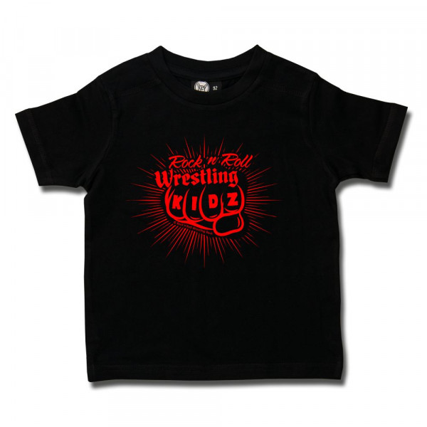 RnR Wrestling Fist Kids T-Shirt mit Aufdruck in rot auf Metal-Kids Markenware
