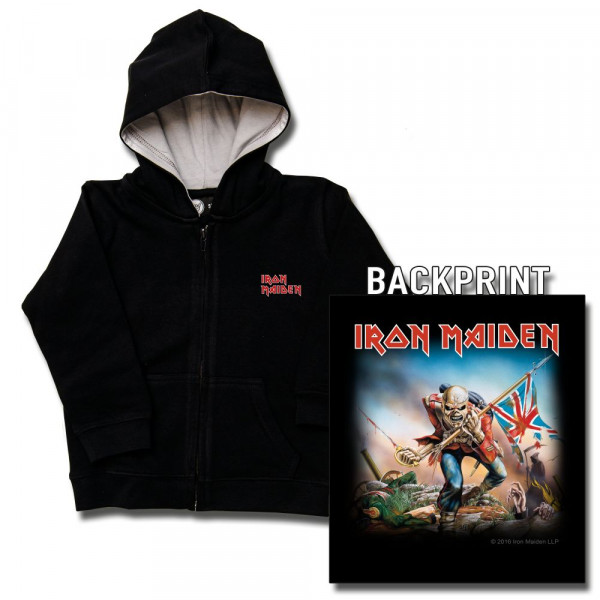 Iron Maiden (Trooper) Baby Kapuzenjacke mit Aufdruck in multicolor auf Metal-Kids Markenware