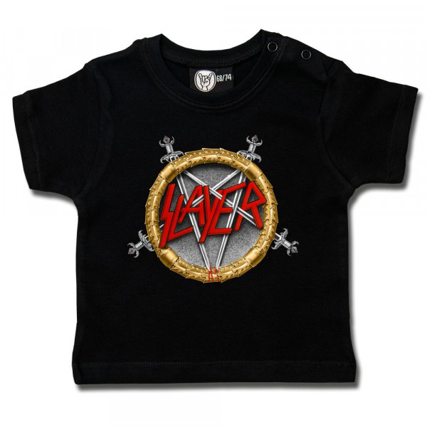 Slayer (Pentagram) Baby T-Shirt mit Aufdruck in multicolor auf Metal-Kids Markenware